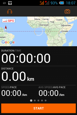 Интерфейс приложения для бега на Андройд