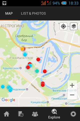 Карта приложения для бега Спорт Трекер
